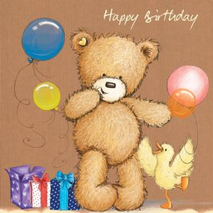 Birthday Bear With Balloons And Presents